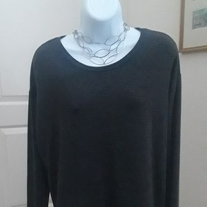 Sweaters - Grey sweater with white button-down sewn in